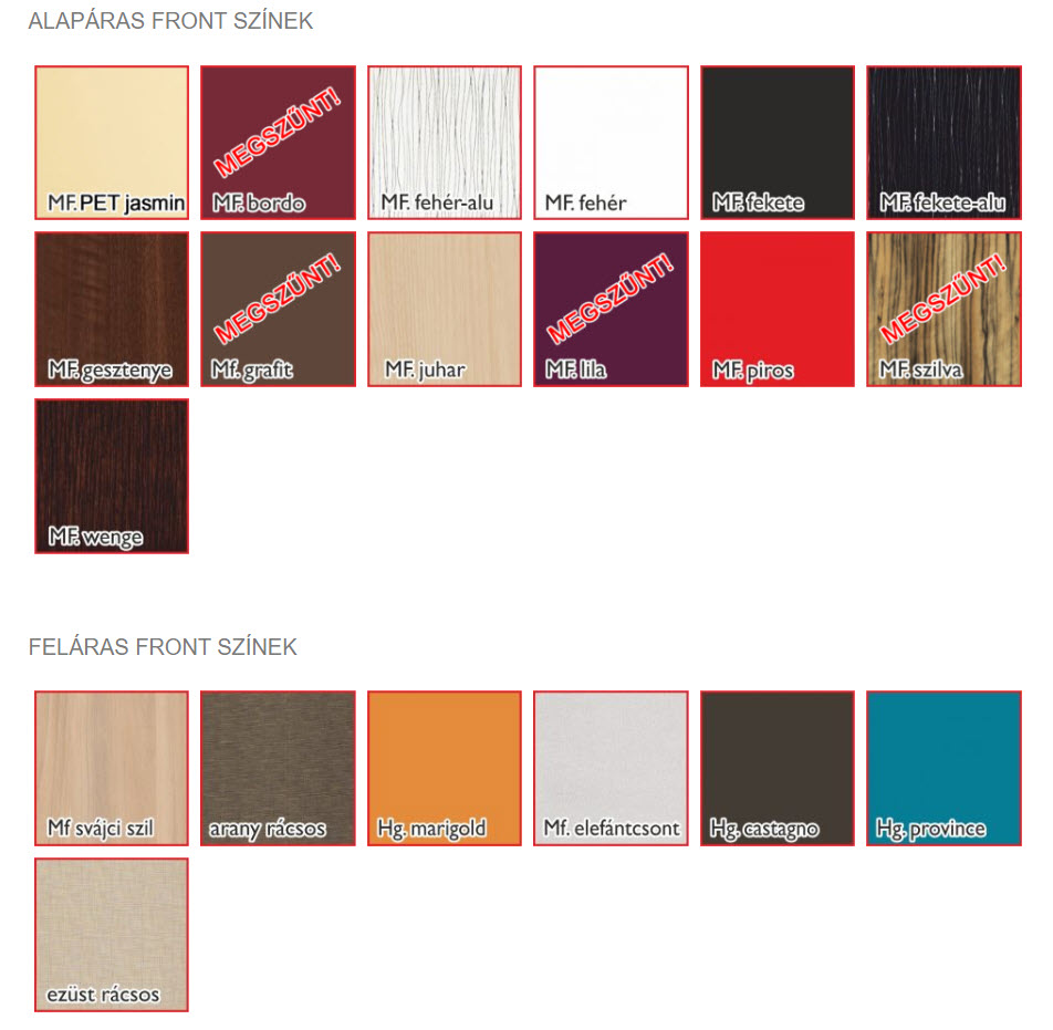 Fano front színek
