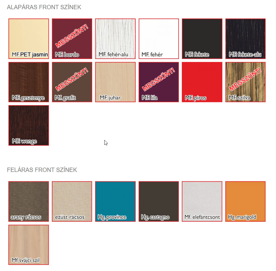 Vigo front színek